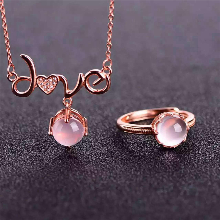 Jade wholesale S925 silver inlaid Rose Gold Plated pure natural mineral crystal ring set suit fashionable foot style gold plated crystal inlaid necklace golden
