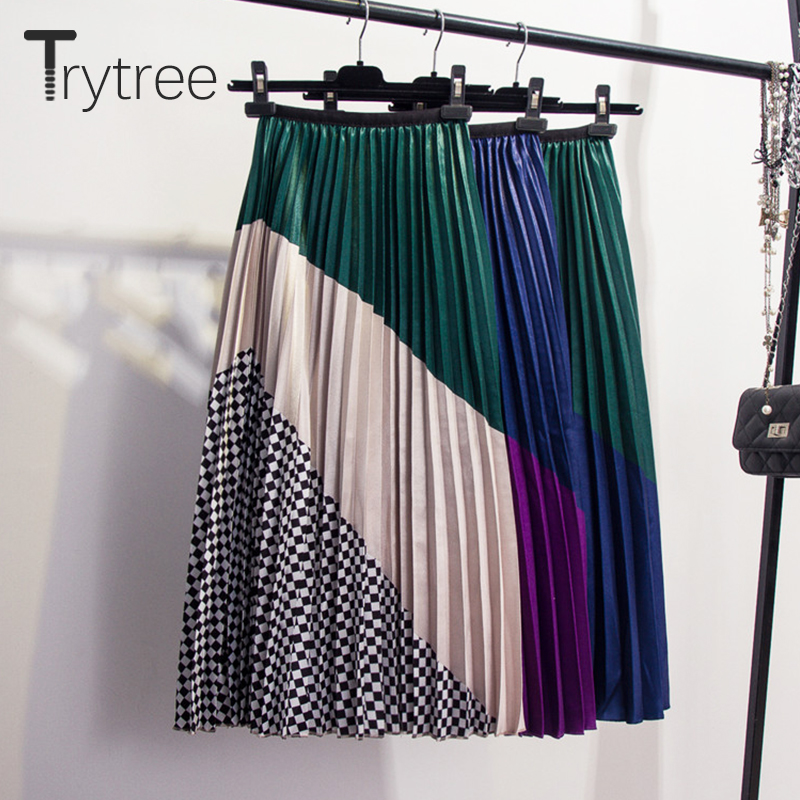 Trytree Summer Autumn Pleated Skirt Women Striped Patchwork Plaid Skirt Mid-Calf Elastic Waist Skirts A-Line High Street Skirt