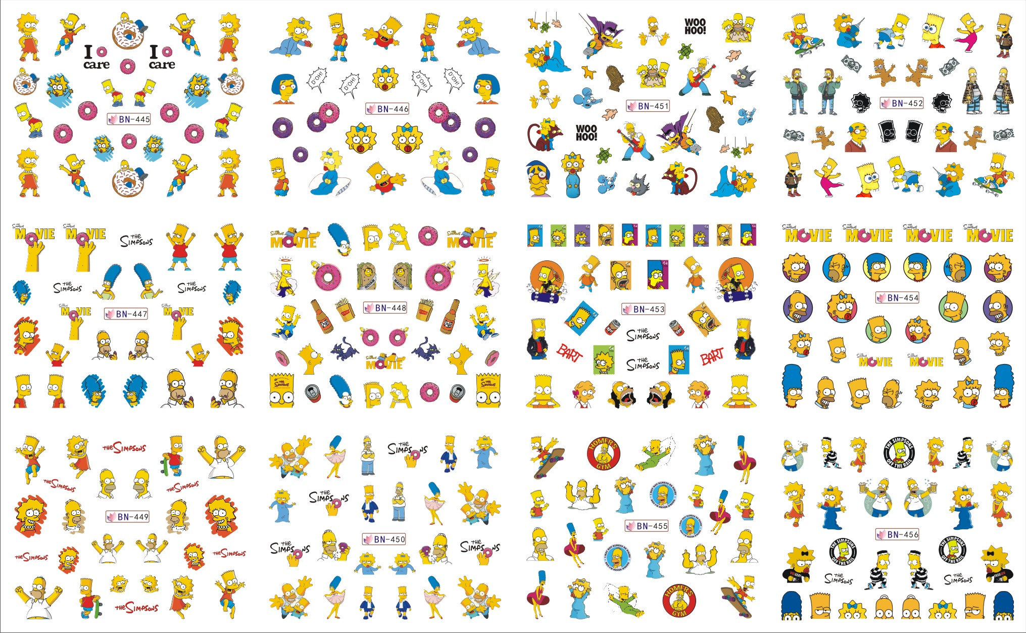 12 Sheets/Lot Nail BN445-456 The Yellow Simpsons Nail Art Water Sticker Decal For Nail Water (12 DESIGNS IN 1)