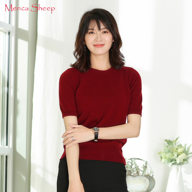 Menca Sheep Brand Women s Sweater Half-Sleeve Oneck 100% Cashmere Jumpers  Ladies New Arrival Fashion Pullovers Winter Clothes 0da8891f0