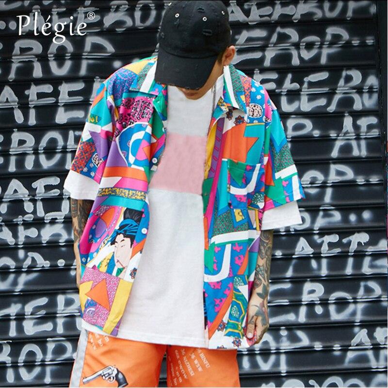 460b6a93 Plegie Unisex Short Sleeve Shirt Men Hip Hop Japanese Streetwear Ukiyoe  Casual Shirt 2018 Mens Summer Hawaiian Shirts-in Casual Shirts from Men's  Clothing ...