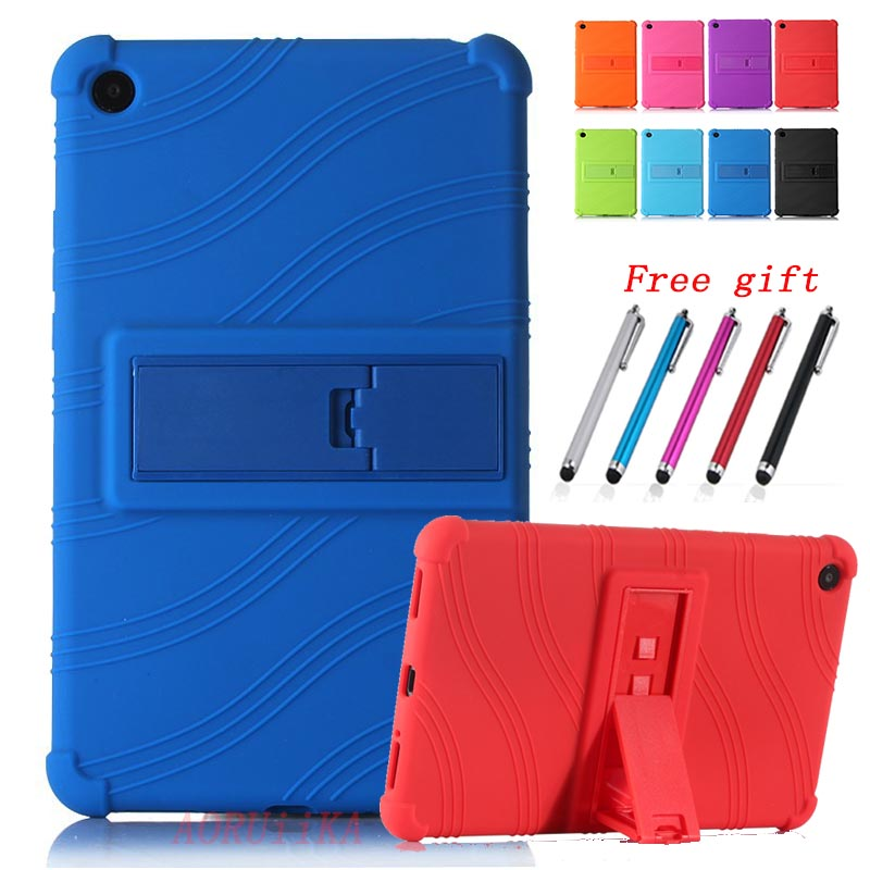 For Huawei MediaPad T5 8.0 Tablet Safety shockproof protection Case JDN2-W09/AL00 Silicone Stand Cover for Huawei T5 8 Rose red