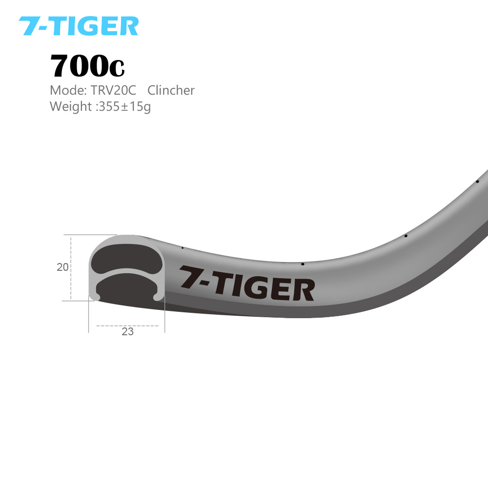 7-Tiger carbon 20mm clincher 700c light weight ud weave front 20 holes rear <font><b>24</b></font> holes road bike wheelset <font><b>rims</b></font> accessorie image