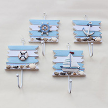 4pcs/set Bathroom accessories mediterranean styl coat hook wood thermometer hooks household rack wooden wall hanger
