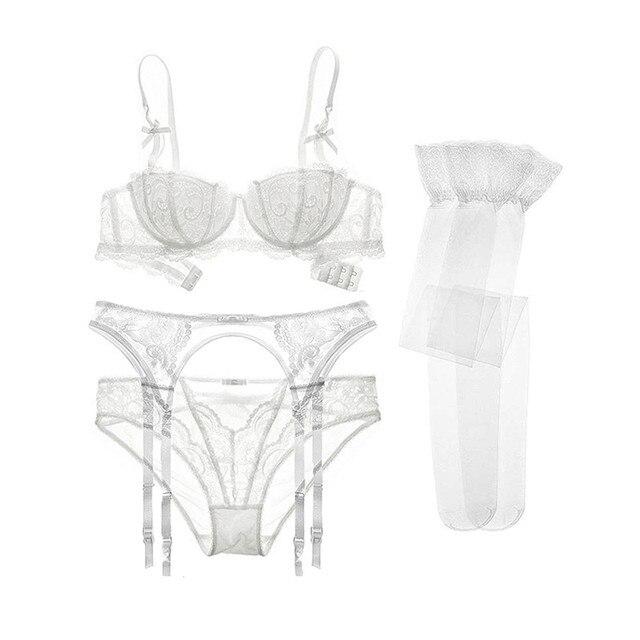 Varsbaby sexy lace push up underwear set half cup bra+panties+garter+stockings 4 pcs for women 4