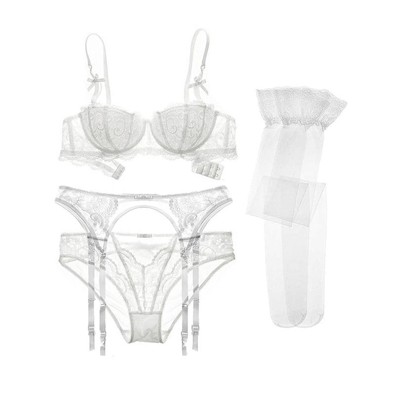 Varsbaby sexy lace push up underwear set half cup bra+panties+garter+stockings 4 pcs for women