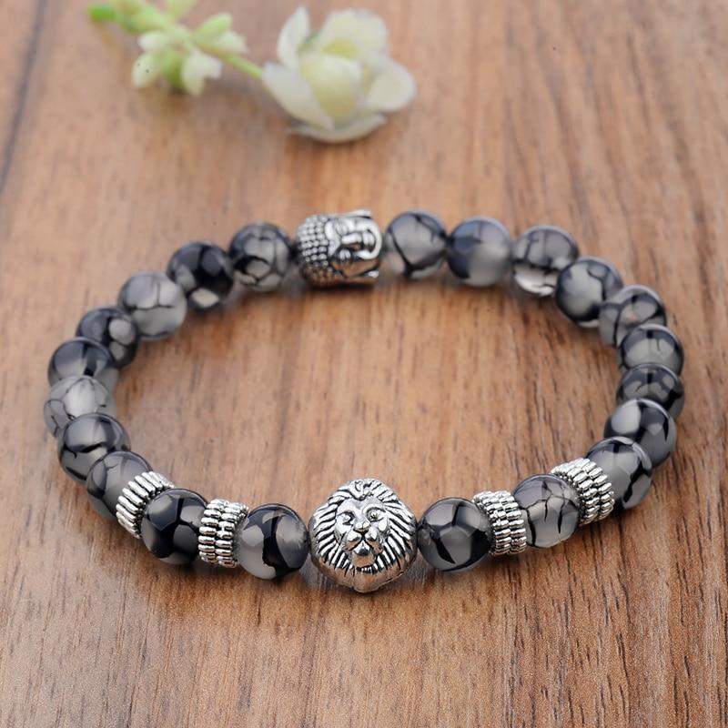 DOUVEI 2018 Ethnic Silver Lion&Buddha Bracelets&Bangles For Women Natural Stone Strand Bracelet Men Meditation Homme AB207