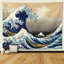 Tapestry Wall Hanging, Great Wave Kanagawa Wall Tapestry with Art Nature Home Decorations for Living Room Bedroom Dorm Decor lightning ocean wave print tapestry wall hanging art
