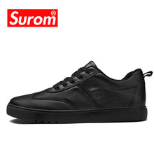 SUROM Brand Classics Black White Skateboarding Shoes Sneakers For Men Soft Breathable Flat Leather Leisure Sneakers Shoes Men
