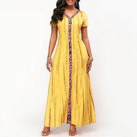 Summer Plus Size African Maxi Dress Women Ethnic Fashion Print Big Swing Street Casual Robe Elegant High Waist Blue Long Dresses