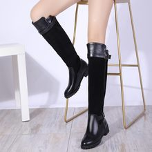 Big Size 9 10 11-17 thigh high boots knee high boots over the knee boots women ladies boots Stitching belt buckle side zipper(China)