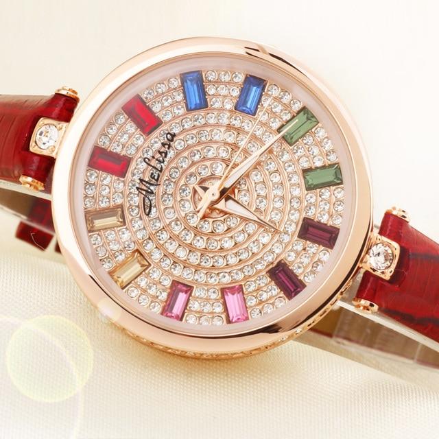 Melissa Dame vrouwen Horloge Japan Quartz Uur Fashion Klok Armband Lederen Crystal  Luxe Steentjes Meisje Verjaardagscadeau 9fd81fb74cd2