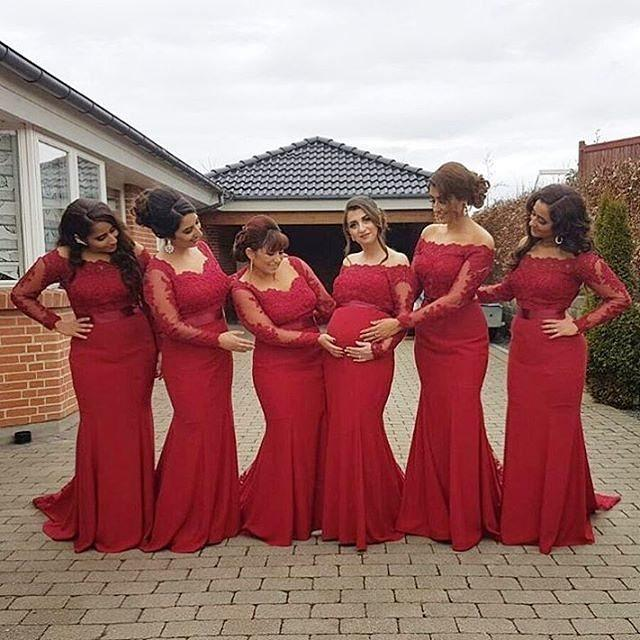 2017 New Arabic African Red Bridesmaid Dresses Plus Size Maternity Off  Shoulder Long Sleeve Lace Wedding Party Gown-in Bridesmaid Dresses from  Weddings   ... 6def92c9b842