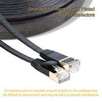 15m Cat7 Ethernet Flat Patch Network Cable Shielded STP With Snagless Rj45 Connectors