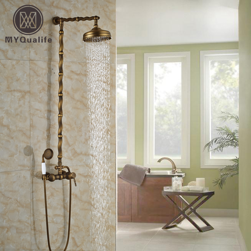 цена на Wall-mounted Rain-style Rainfall Bath&Tub Shower Faucet Mixer Tap Wall Mount Shower Complete Set Antique Brass Finish