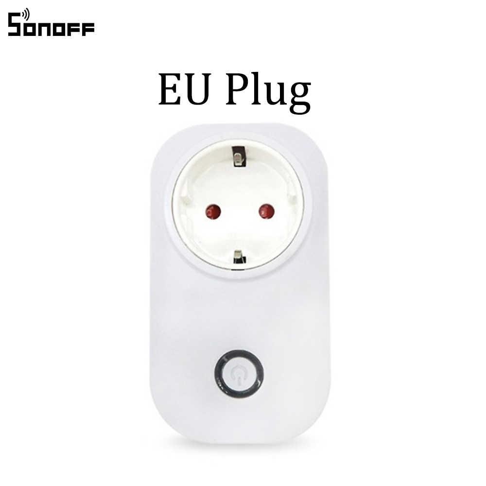 Sonoff S20 ue wtyczka UK US gniazdo zasilania z Wi-Fi przełącznik aplikacja bezprzewodowa pilot gniazdo rozrządu przełącznik dla inteligentnego domu praca z Alexa