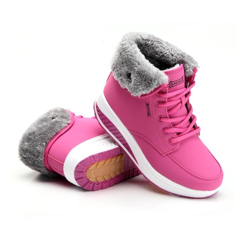 2016 women winter snow plus velvet boots ladies swing Thick base boots female cotton-padded Incre round toe elevator boots shoes