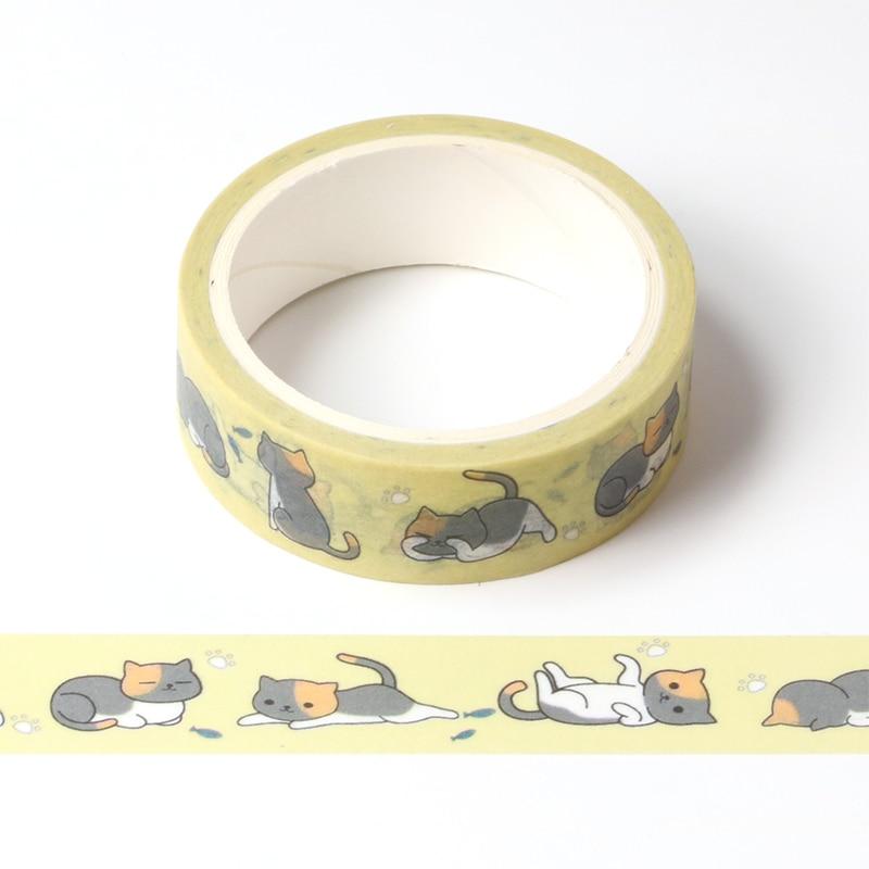 Cute Cartoon Lazy Cat Masking Washi Tape Decorative Adhesive Tape Decora Diy Scrapbooking Sticker Label Kawaii Stationery