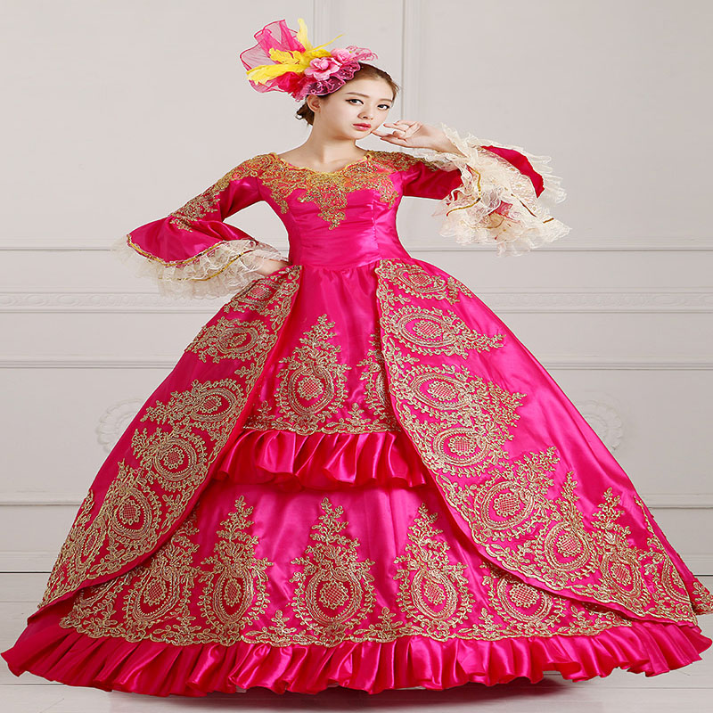 Nouveauté Rose rouge manches longues évasées or Appliques Halloween robe de soirée 18th Century mascarade robes pour les femmes