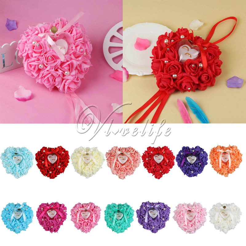 wholesale wedding favors heart shape ring pillow with platic ring box rose flowers rhinestone pearls