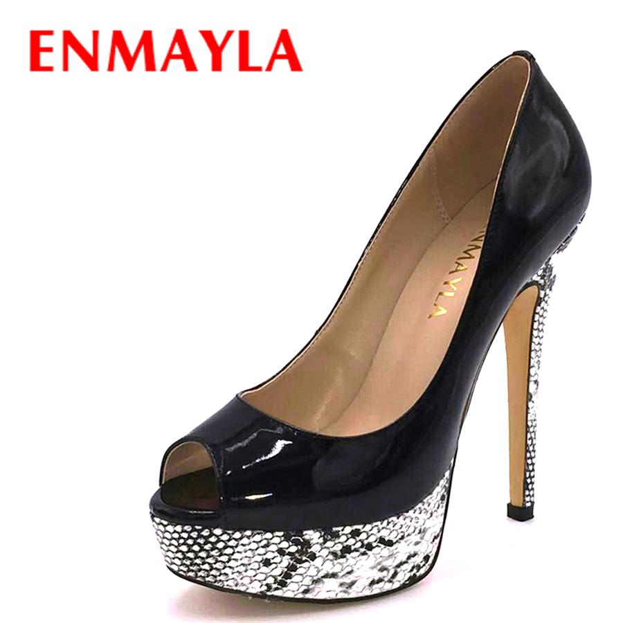 ENMAYLA New Women High Heels Peep Toe Platform Pumps Women Mixed Colors Stiletto Heels Weeding Shoes Woman Bride Nude Pumps new style woman shoes stiletto high heels mixed color as its character suit to party sexy peep toe fashion and unique shoes