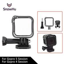 SnowHu para Gopro Acessórios Da Câmera Tampa Da Caixa Do Quadro de Baixo Perfil Suporte Montar Titular para GoPro Hero 5 s/4 sessão GP259