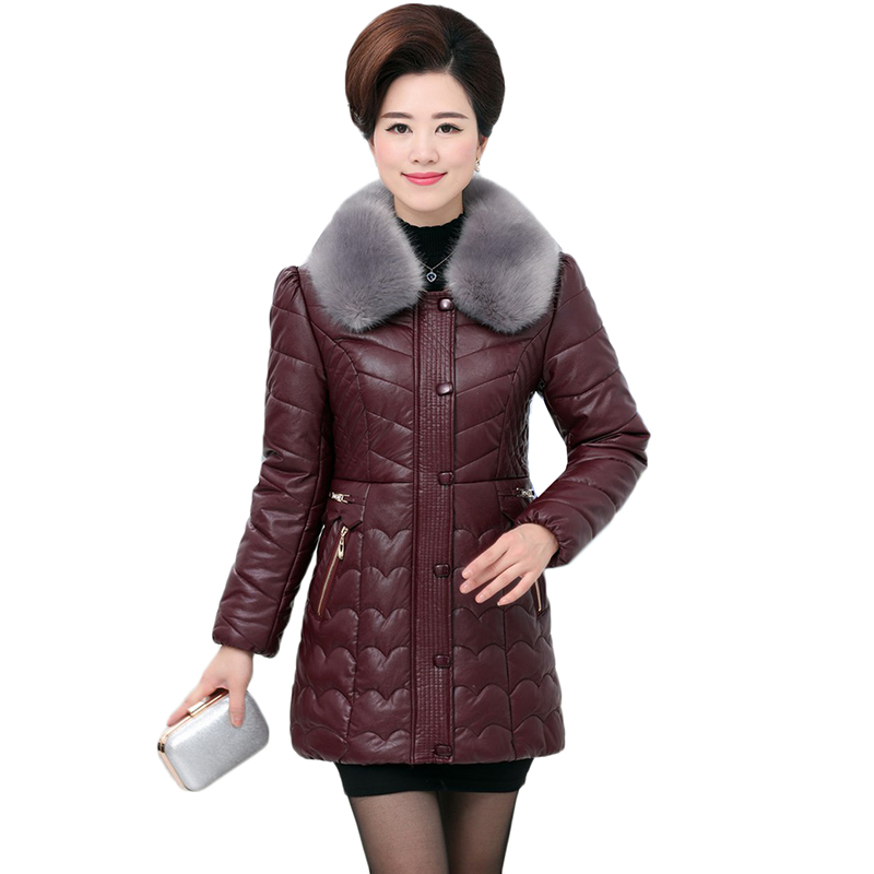 Winter Women Parkas Jacket New PU   Leather   Jacket Coats Middle-aged Mother Clothing Thicke Warm Down Cotton Jacket Plus Size 5XL