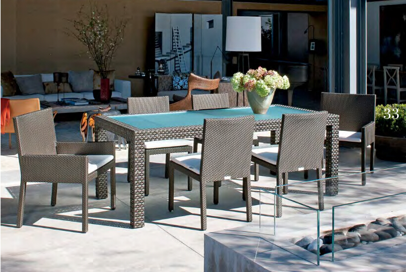 Garden Rattan Wicker Furniture Outdoor Modern High Back Dining Chairs