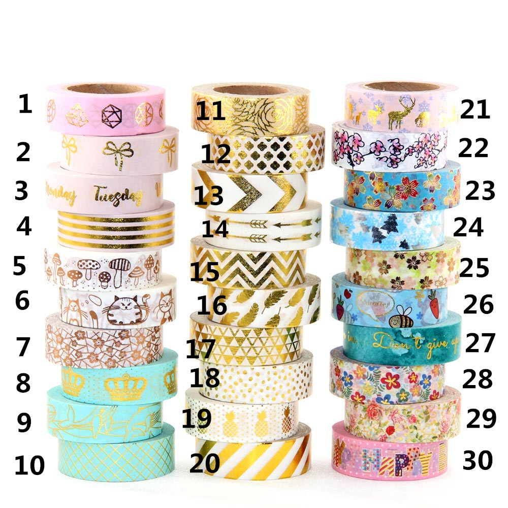 Foil Washi Tape Heart Japanese 1.5*10meter Kawaii Scrapbooking Tools Masking Tape Christmas Photo Album Diy Decorative Tapes 10m gold foil washi tape scrapbooking christmas decorative masking tape
