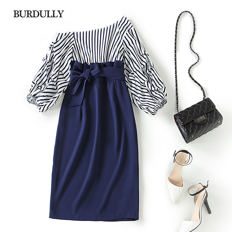 BURDULLY Summer 2019 Women Sexy One Shoulder Dress Striped Black White Dresses High Quality Casual Patchwork Dress Lady Work