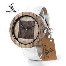 Marca de lujo BOBO PÁJARO Reloj Hombres y Mujeres Relojes Correa de Cuero Genuino Movimiento De Madera 2035 Del Reloj Del Cuarzo relogio feminino