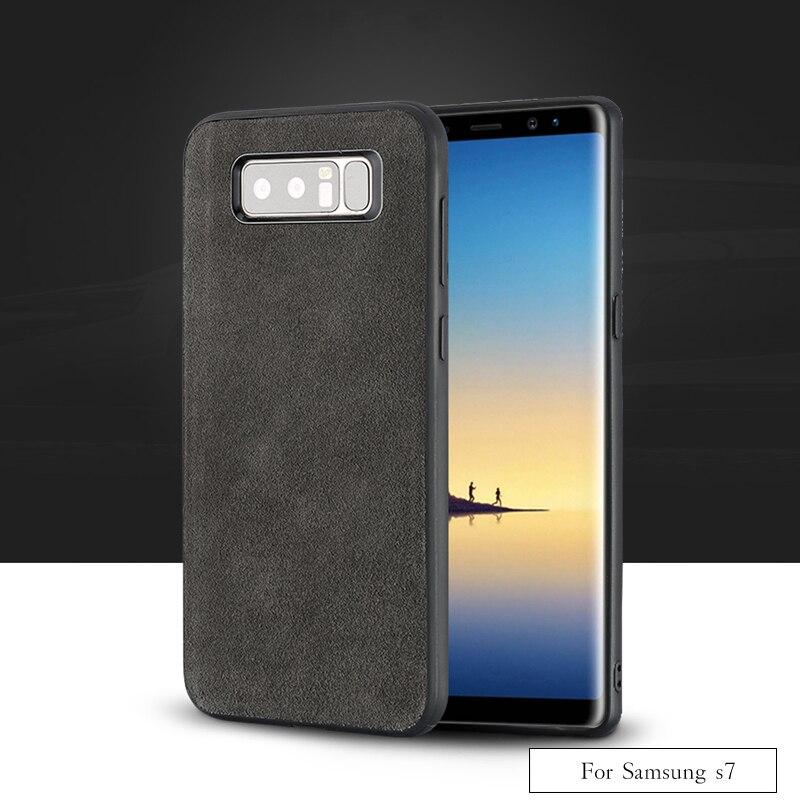 Wangcangli marque Tout-fait à la main véritable fourrure téléphone étui pour samsung S7 Confortable tactile tout-compris coque de téléphone