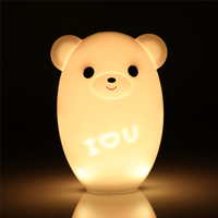 Cute New fahion Silicone Night Light Bedside Lamp Bear Color Light Children Night Lamp Bedroom Kid Light Gift Pressure reducing