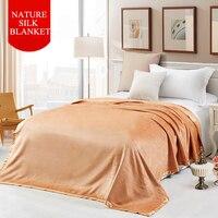 Чистое Шелковистое шелковое бархатное одеяло натуральное шелковое одеяло высококлассные уютные Простыни Шелковые ковры 100% класс чистый т
