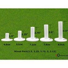 Палец десять Гольф резиновые Tee 5 различных Размеры пакет вождения диапазон футболки держатели 1,5 »2,25» 2,75 »3,0 »3,13» дюймовый резиновые Tee