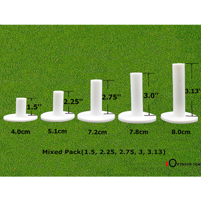 Finger Ten Golf Rubber Tee 5 Different Size Pack Driving Range Tees Holders 1.5'' 2.25'' 2.75'' 3.0'' 3.13'' inch Rubber Tee