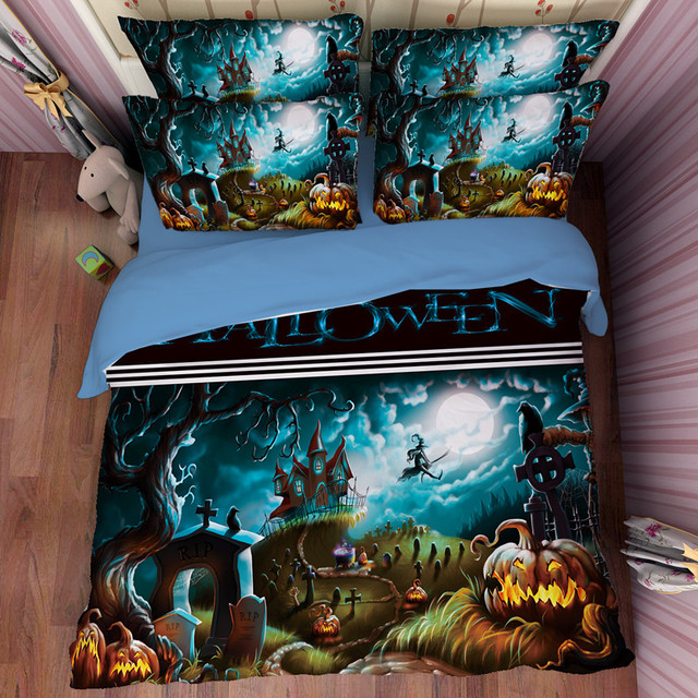 high quality 3d duvets and bedding sets queen size halloween printing cartoon pillowcase cotton bedlinen for