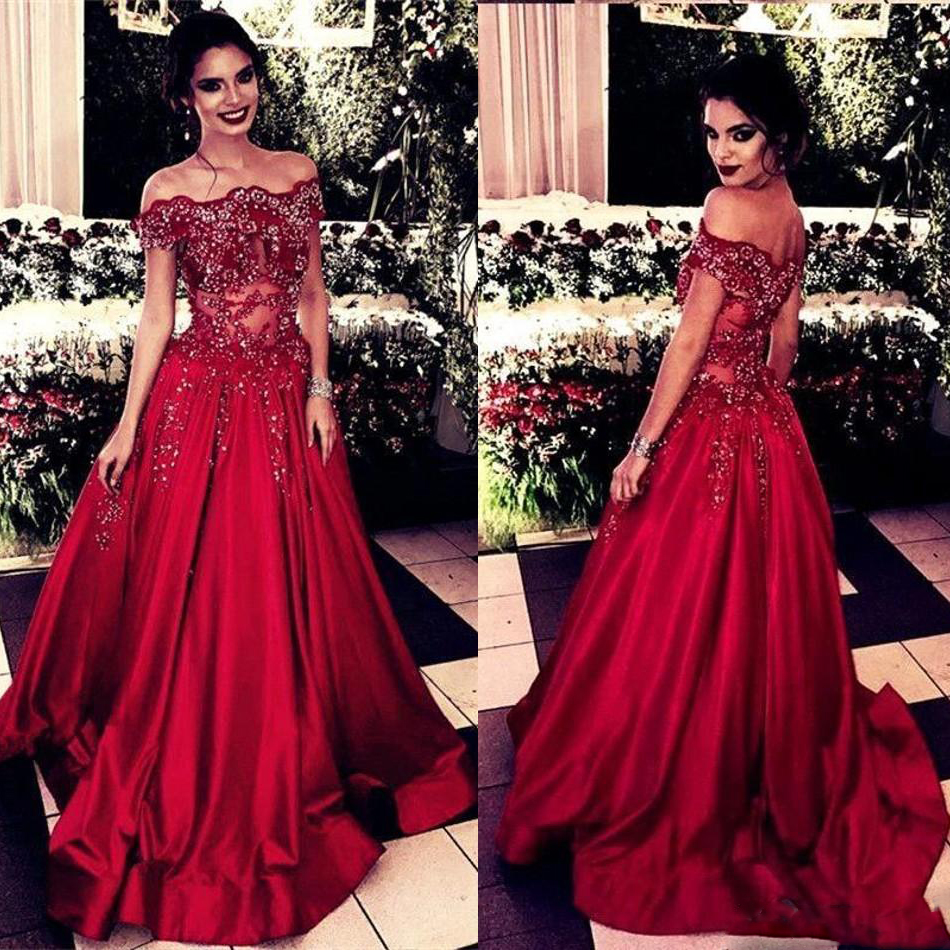 Sexy Off Shoulder Red Mermaid   Prom     Dresses   Beads Sequined Sparkly A Line Long Evening   Dress   Sweep Train Party Wear Abendkleider