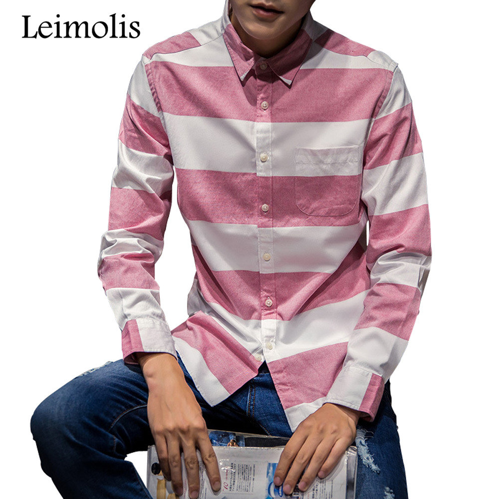 Striped Pink Shirt Men Promotion-Shop for Promotional Striped Pink ...