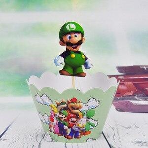 Image 3 - 12set Tema de Súper Mario Decoración de Pastel de fiesta Baby Cupcake para la ducha envoltorios eventos de feliz cumpleaños adornos para la parte superior de una tarta de fiesta