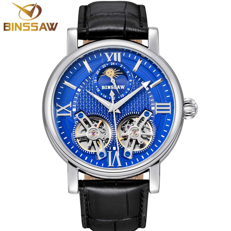 BINSSAW New Tourbillon Automatic Mechanical Men Watch Original Fashion Luxury Brand Leather Business Watches Relogio Masculino binssaw new men quartz stainless steel fashion business watch ultrathin gold china luxury brand gift watches relogio masculino