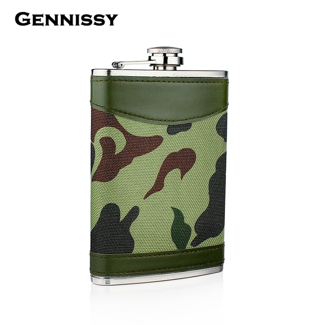 GENNISSY Stainless Steel Mini Military Flask Camouflage Pattern Traveling Outdoor Portable Flask for Alcohol 9oz Whiskey Flask
