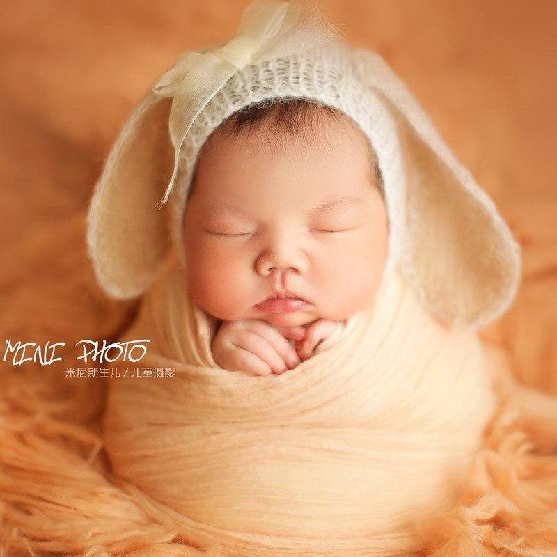 Новорожденных мохеровая шапка заяц Детские Hat Пасха животных для Обувь для девочек капот ребенка Подставки для фотографий новорожденных ...