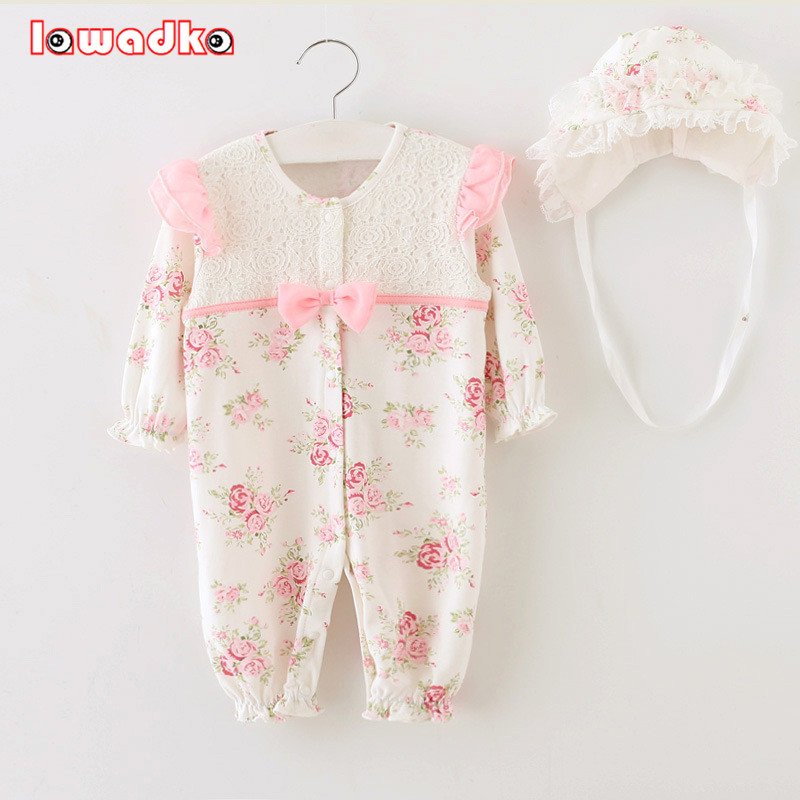 2015 Newborn Princess Style Baby Girl Clothes Kids Birthday Dress Girls Lace Rompers+Hats Baby Clothing Sets Infant Jumpsuit new born baby girl clothes leopard 3pcs suit rompers tutu skirt dress headband hat fashion kids infant clothing sets