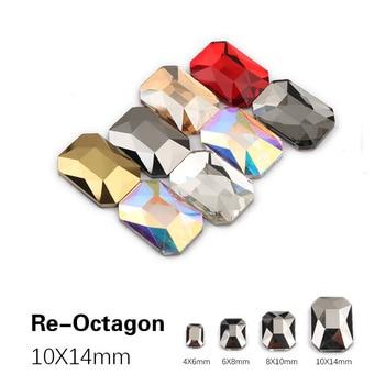 Nuevo estilo 10X14mm largo Octágono uñas de diamantes de imitación de Flatback colorido cristales de vidrio de uso para uñas DIY decoración de diamantes de imitación