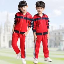 Red Adult Children's Primary School Uniforms Teenage Kids  long sleeve Outdoor clothing sports suit boys girls tracksuit outfits