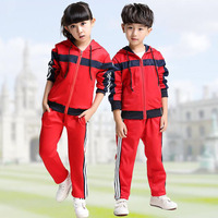 Red Adult Children S Primary School Uniforms Teenage Kids Long Sleeve Outdoor Clothing Sports Suit Boys