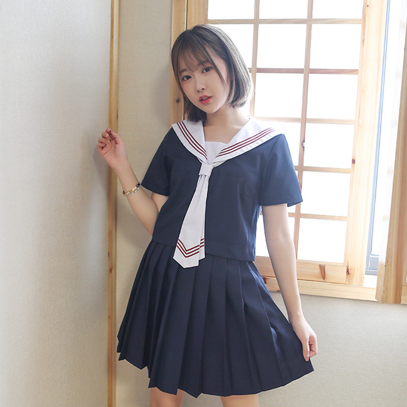 UPHYD JK Class Service Uniforms Fashion Female Navy Sailor Class School Uniforms For Cosplay Girls Suit Top+Skirt+Tie