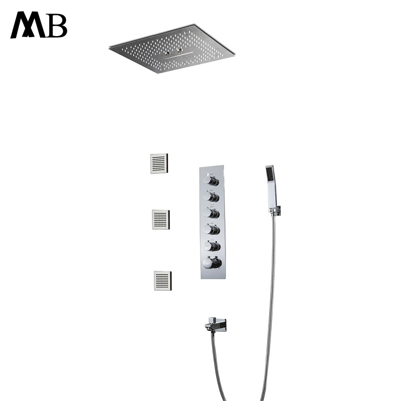 Big Water Flow Shower Set Rainfall LED Showerhead Misty Bathroom Shower Embedded Ceiling Mounted Thermostatic Shower Controller