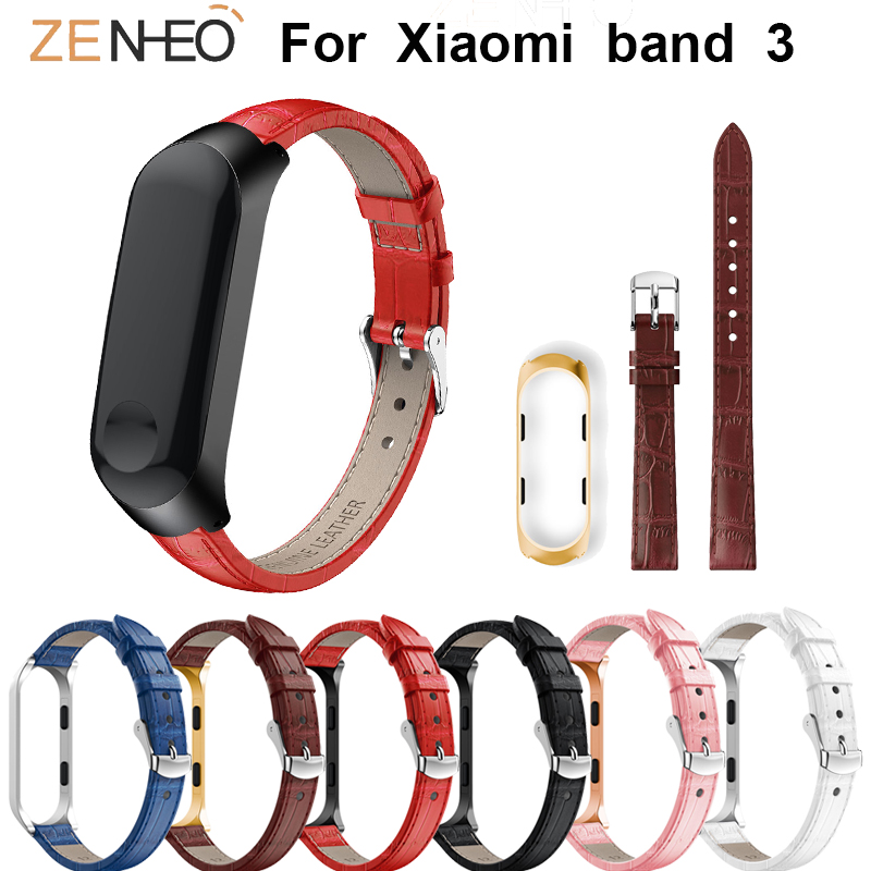For Xiaomi Mi Band 3/4 Strap Genuine Leather Watch Band Replacement For Mi Band 3 Wristband Watches Straps Smart Accessories